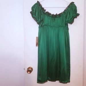 NWT Vtg Emerald Green Betsey Johnson Babydoll Mini